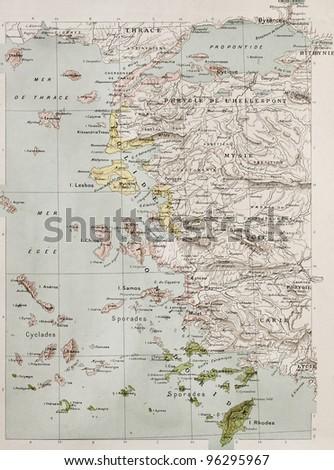 Aegean islands and Turkish coast old historical map. By Paul Vidal de Lablache, Atlas Classique, Librerie Colin, Paris - stock photo