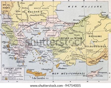 Aegean region in 13th century old map. By Paul Vidal de Lablache, Atlas Classique, Librerie Colin, Paris, 1894 - stock photo