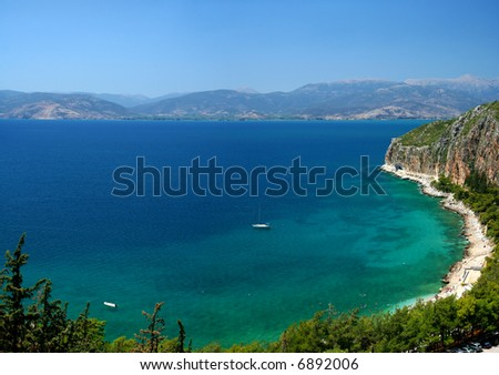 Aegean sea coast in Greece - stock photo