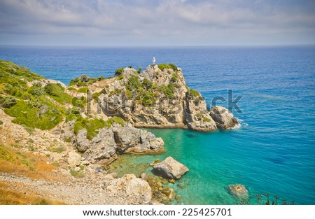 Aegean sea coast near Karlovasi, Samos island, Greece - stock photo