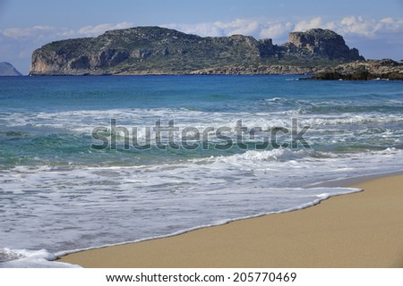 Aegean Sea with deep blue water, coast of Crete in  Mediterranean sea, island of Crete, Greece