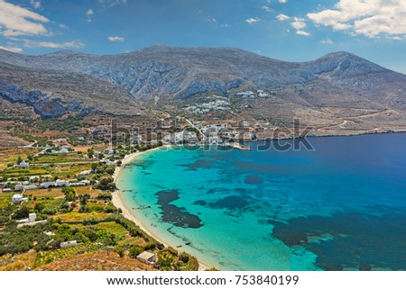 Aegiali beach of Amorgos island in Cyclades, Greece