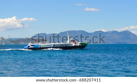 AEGINA, GREECE - JUNE 19: Aegina port in Aegina island, Greece on June 19, 2017