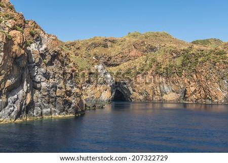 Aeolian islands and Grotta del Cavallo - stock photo