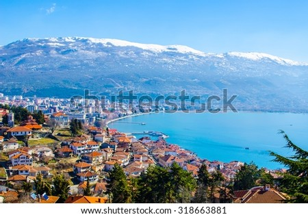 aerail view of macedonian city ohrid, which is famous for its unesco listed historical center and beautiful lake separating macedonia from albania. - stock photo