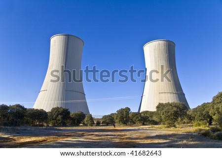 Aeration towers stops, during the annual review of the nuclear - stock photo