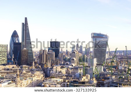 Aereal view of London modern district. - stock photo