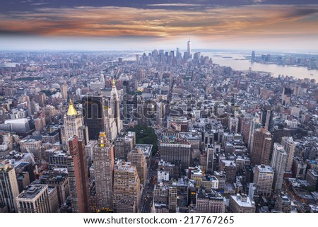 Aereal view of Manhattan at sunset. - stock photo