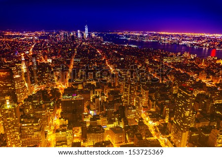 Aereal view of Manhattan by night. - stock photo
