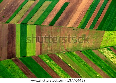 Aerial agricultural landscape - stock photo