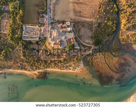 Aerial. Amazing view of the sky, the village Cacela Velha. Tavira Portugal.