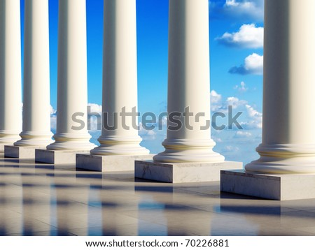 Aerial ancient columns in the clouds. 3D illustration. - stock photo