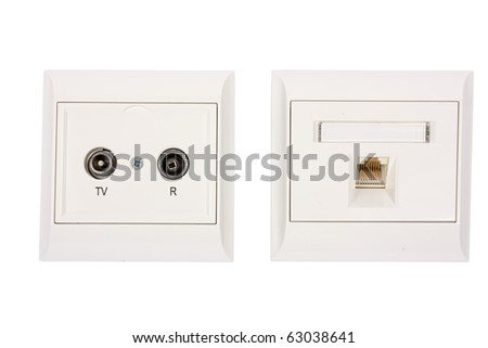 Aerial and network outlet isolated on white background - stock photo
