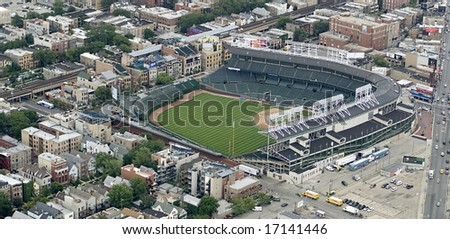 Aerial angle of Wrigley Field in Chicago on a sunny day