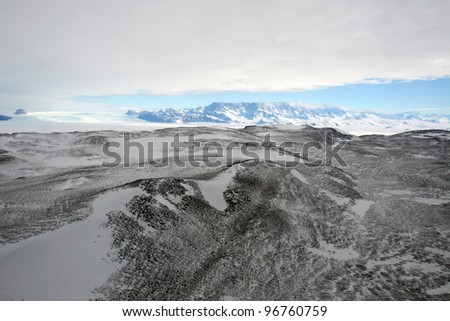 Aerial antarctic landscape - stock photo