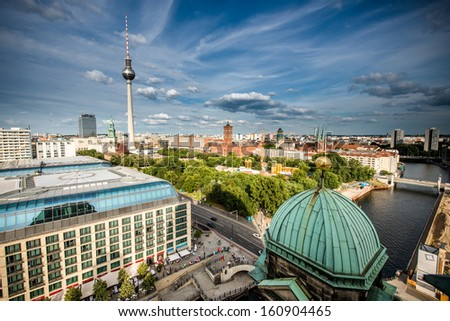 Aerial bird eye view of the city of Berlin, Germany - stock photo