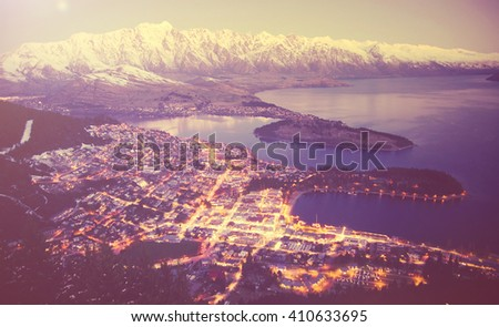 Aerial Building City Town Scene Population View Concept - stock photo