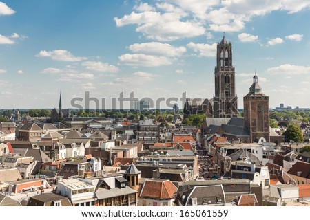 Aerial cityscape of medieval city Utrecht, fourth city of the Netherlands - stock photo