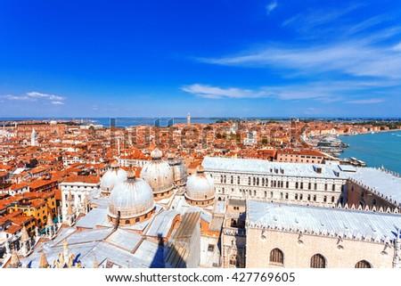 Aerial cityscape of Venice, Italy - stock photo