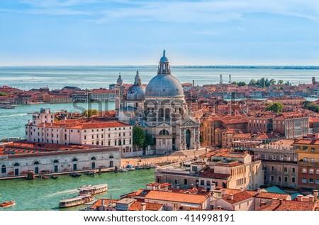 Aerial cityscape of Venice with Santa Maria della Salute church, Veneto, Italy, Europe. - stock photo