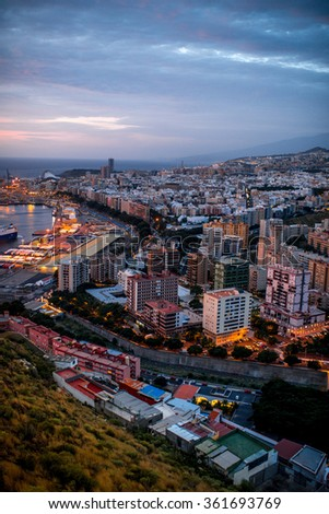Aerial cityscape view on Santa Cruz de Tenerife in the morning on Canary islands