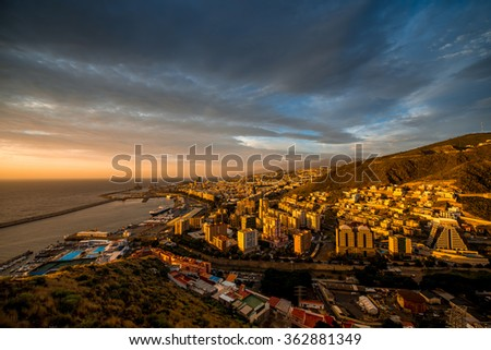 Aerial cityscape view on Santa Cruz de Tenerife on the sunrise on Canary islands