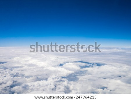 Aerial cloudscape sky in stratosphere shot from airplane window