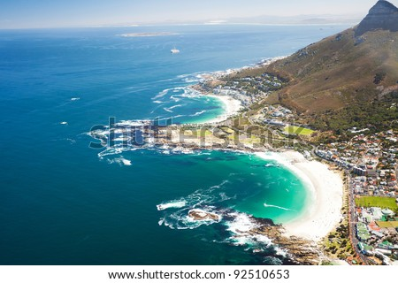 aerial coastal view of Cape Town, South Africa - stock photo