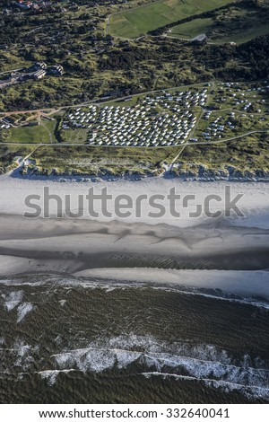 Aerial coastal view of the shore of Ameland Frisian Island, The Netherlands - stock photo