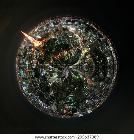 Aerial 360 degree view of Tokyo, Japan at night with illuminated buildings , landmarks and skyscrypers and traffic light trails on the streets on a mini planet floating in a dark sky - stock photo