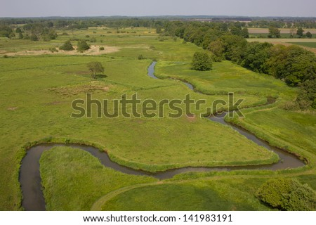 Aerial Drentse Aa river - stock photo