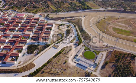 Aerial drone bird's eye view of Athens public Hippodrome facilities located in Markopoulo, Attica, Greece