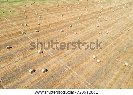 Aerial drone view of mown field with scattered hay bale rolls in perspective