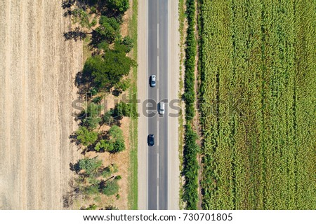 Aerial drone view of stripped sunflower field and dried empty field divided with trees and a highway