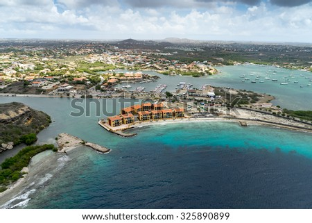 Aerial from a helicopter - Views around Curacao a Caribbean Island