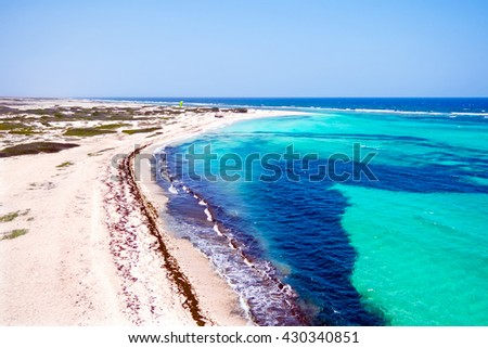 Aerial from Boca Grandi on Aruba island in the Caribbean Sea