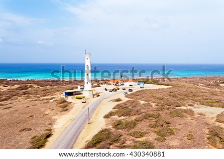 Aerial from California LIghthouse on Aruba island in the Caribbean - stock photo