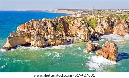 Aerial from Ponte Piedade with the Lighthouse in Lagos Portugal
