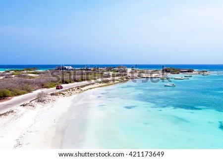 Aerial from Rogers Beach on Aruba island in the Caribbean Sea - stock photo