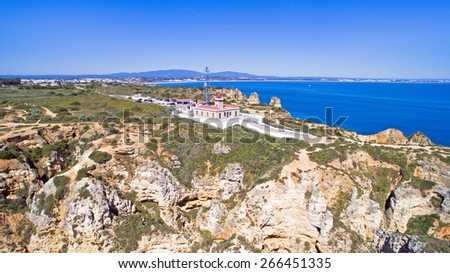 Aerial from the lighthouse in Lagos Portugal - stock photo