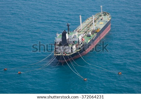 Aerial front side view of oil tanker ship sailing on open sea - stock photo