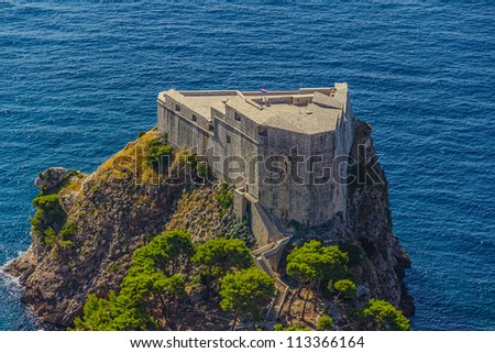Aerial helicopter shoot of Dubrovnik old town. St. Lawrence Fortress or Lovrijenac
