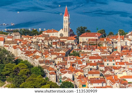 Aerial helicopter shoot of Trogir old town panorama. Croatia tourist destination. - stock photo