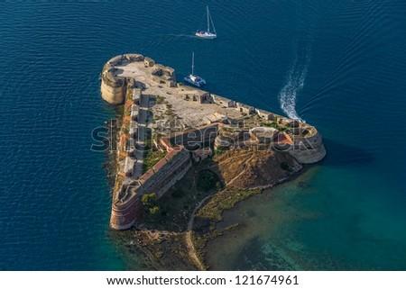 Aerial helicopter shot of St. Nicholas Fortress - Sibenik archipelago, Croatia. - stock photo