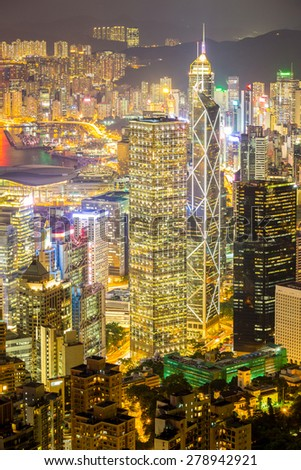 Aerial Hong Kong Skyline from Victoria Peak at night - stock photo
