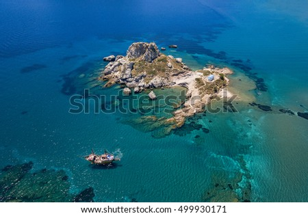 Aerial image of a small island in Kos island at Kefalos village.