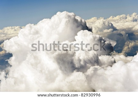 Aerial image of clouds - stock photo