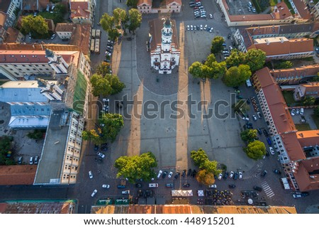 Aerial image of Kaunas Town Hall square. The Town Hall of Kaunas stands in the middle of the Town Hall Square at the heart of the Old Town, Kaunas, Lithuania.The structure dates from the 16th century.