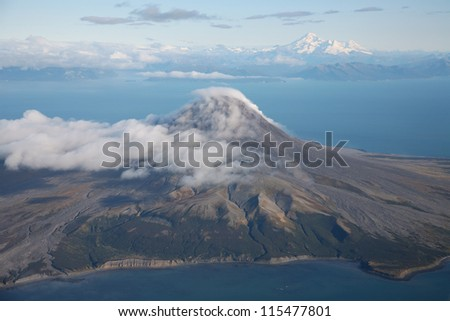 Aerial image of Mount St Augustine volcano, Cook Inlet, Alaska, USA
