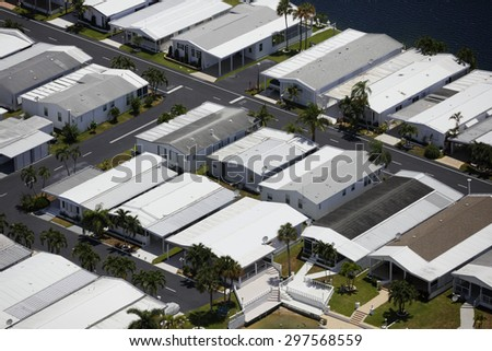 Aerial image of trailer homes  - stock photo